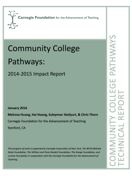 Community College Pathways: 2014-2015 Impact Report